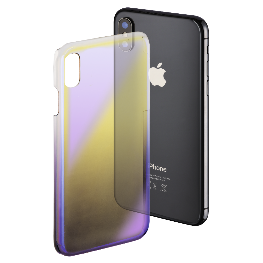 "abx High-Res Image - Hama, Cover "" Mirror"" voor Apple iPhone X, geel/lila"