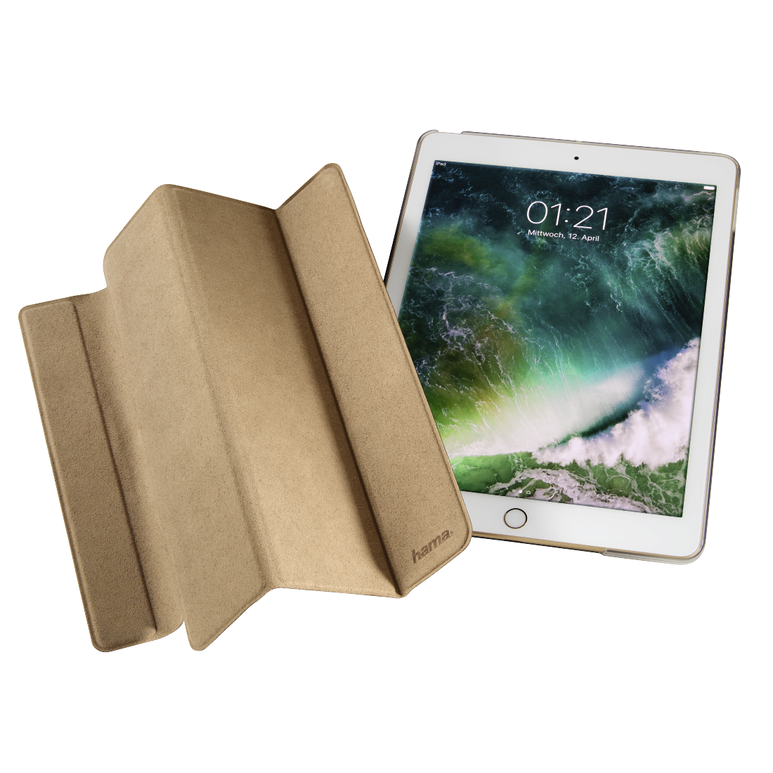 "abx5 High-Res Image 5 - Hama, Tablet-case ""Suede Style"" voor Apple iPad 9.7 (2017/2018), beige"